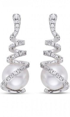 Pearl and Diamond Earrings by Mastoloni available at Global Diamonds in  Jacksonville, FL