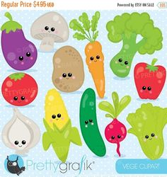 80% OFF SALE vegetable clipart characters by Prettygrafikdesign
