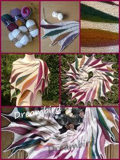 Dreambird shawl gebreid met Drops Baby Alpaca Silk en Drops Delight