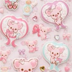 """big puffy Piggy Girl pig with bows sponge stickers by San-X. $5.60. with glitter stones. with pig, mouse, bows, hearts etc.. from San-X, Import from Japan. height: 19.5cm (7.6""""), width: 9.5cm (3.7""""). soft 3D sticker, many are super thick. super thick 3D stickers with pig, mouse, bows, hearts & jewels"""