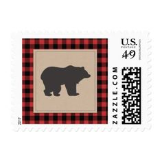 Lumberjack Red Plaid Black Red Bear Stamps - baby birthday sweet gift idea special customize personalize