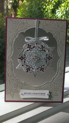 Stampin up Festive flurry in Sahara sand, rich razzleberry & silver