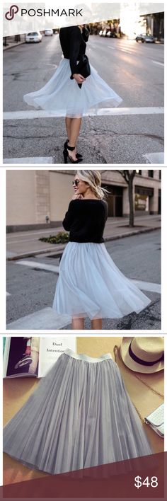 "🆕 Gwen Multi Layer Tulle Skirt 🆕 Gwen Multi Layer Tulle Skirt Three beautiful layers of tulle. Elastic waistband  Fully lined One Size: waist 22-38"", length 25""  100% Polyester  Price is firm unless bundled Haute Ellie Skirts Midi"