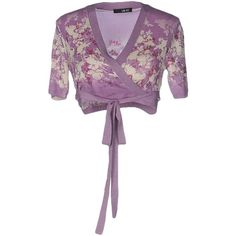 Liu •jo Wrap Cardigans (€105) ❤ liked on Polyvore featuring tops, cardigans, lilac, short-sleeve cardigan, lilac cardigan, white short sleeve cardigan, v-neck cardigan and floral tops