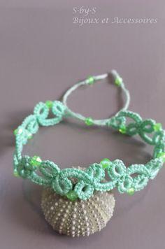 bracelet en dentelle/frivolité dégradé de vert clair : Bracelet par s-by-s
