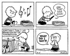 Charlie Brown always had a thing or two to say about vinyl. Created by Charles M. Schulz, the Peanuts story needs no introduction, holding down a spot in newspapers across the world for a good fifty years, amassing over … Charlie Brown Music, Charlie Brown And Snoopy, Peanuts Cartoon, Peanuts Gang, Peanuts Comics, Snoopy Comics, Fun Comics, Classical Music Humor, Radios