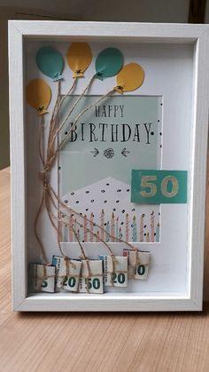 Birthday Room Decorations, Creative Money Gifts, Happy 50th Birthday, Shadow Box, Handicraft, Framed Art, Origami, Wedding Gifts, Diy And Crafts