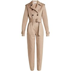 Wanda Nylon Double-breasted belted jumpsuit ($784) ❤ liked on Polyvore featuring jumpsuits, beige, waist belts, belted jumpsuit, beige jumpsuit and jump suit