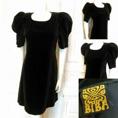 1968/69 Biba velvet puffed sleeve mini dress - Sold Mini Dress With Sleeves, Short Sleeve Dresses, Velvet, Stuff To Buy, Black, Fashion, Moda, Black People, Fashion Styles