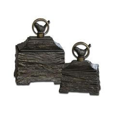 Uttermost 19601 Birdie Boxes Set of 2 Metallic Gray Home Decor Boxes ($174) ❤ liked on Polyvore featuring home, home decor, small item storage, accents, boxes and baskets, metallic gray, twin pack, gray home decor, gray boxes and grey home decor