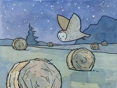 Barn Owl and Haystacks Illustration - 5x7 Print. $20.00, via Etsy.