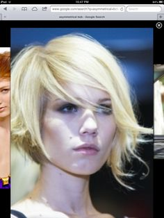 """Asymmetrical bob. Also, it's kind of astounding how few people know how to spell """"asymmetrical"""" on Pinterest."""
