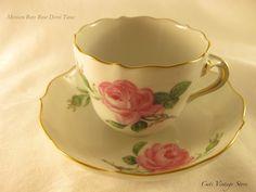 Vintage Demi Tasse Tea set Meissen Rote Rose by CatsVintageStore