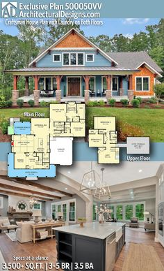 Introducing Architectural Designs Exclusive Country Craftsman Home Plan 500050VV with 3 – 5 Bedrooms 3 full baths and 1 half bath in 3,500+ Sq Ft. Ready when you are! Where do YOU want to build? #500050VV #adhouseplans #architecturaldesigns #houseplans #architecture #newhome #newconstruction #newhouse #homedesign #homeplans #architecture #home #craftmanhome #homesweethome