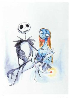 Tim Burton illustration of Jack, Sally and Zero from Nightmare before Christmas