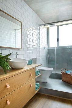 white subway tile + wood vanity