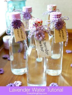 Lavender Water Linen Spray! This is a very cool and inexpensive DIY wedding favor. Also great because when you visit houses that use it, you'll always be brought back to your wedding day!