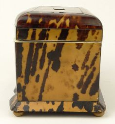 C English Tortoise Shell Tea Caddy. The interior with two lidded zinc foil-lined compartments for tea, each lid of tortoise with Ivory pull. The interior lid and base lined in Ivory. The lid with original felt backing. Tea Canisters, Antique Boxes, Tea Caddy, Tea Art, Window Ideas, Stuffed Animal Patterns, Tortoise Shell, Old And New, Vivid Colors