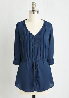 Love and Merci Tunic - Blue, Solid, Cutout, Lace, Belted, Work, Casual, Americana, 3/4 Sleeve, Summer, Woven, Good, Collared, Mid-length, Lace