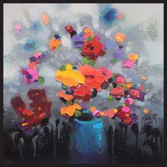 Hobbitholeco Scott Naismith 'Blue Flower Vase' Framed Gel Brush Finish Canvas Wall Art Decor