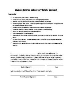 This Safety Contract requires a student and parent signature.