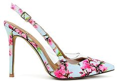 Beast Fashion India-01 Slingback Pointed Pointy Toe Clear Lucite Side Stiletto High Heel Pumps Floral Multi
