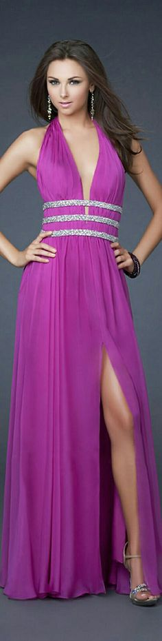 Magenta Prom/Bridesmaids w. Triplicate Beaded Waist Belts, Slit on L. Side, & Plunged Neckline x LaFemme #16123