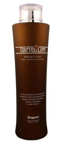 Supre Tansium Body Bronzing Tanning System Indoor Tanning Salon Bronzer Lotion for Men and Women 8.0 oz by Supre. $21.99. New AlgoMaxTM Tanning Technology with Melanin Synthesis Intensifiers.. The absolute pinnacle in performance and skin care. Proactive system enhances the present and future health of skin.. Caviar Extract for anti-aging skin renewal.. Fragrance: Wild Raspberry Vanilla & Blackberry 8 oz. Contains 12 Principle Minerals, 18 Amino Acids, 6 Essential Vitamins, a...