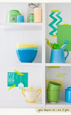 Greens and blues - bright coloured display of colour - Leslie's a creative mint