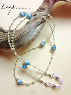 b07020817ab PORCELAIN SWIRL ∫∫∫ Girls Blue Beaded Necklace Eyeglass Chain Beautiful  Flower Girl Accessory Glasses Chain