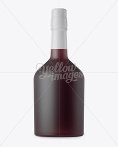 Frosted Glass Bottle with Red Liqueur Mockup