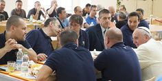 Lunch with Pope: Pope Francis talks with Vatican workers during a surprise visit to the Vatican cafeteria on July 25.