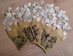Dainty heart-shaped paper confetti hand stamped from a vintage edition of Alice in Wonderland and Alice Through the Looking Glass (don't worry – this book was rescued from being thrown away!) Beautiful confetti for an Alice in Wonderland or vintage the. Alternative Confetti Ideas, Diy Wedding, Dream Wedding, Wedding Ideas, Wedding Stuff, Wedding Inspiration, Wedding Themes, Wedding Decor, Wedding Seating Cards