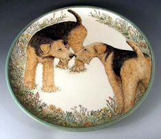 Nose to Nose Airedale Platter by Nan Hamilton