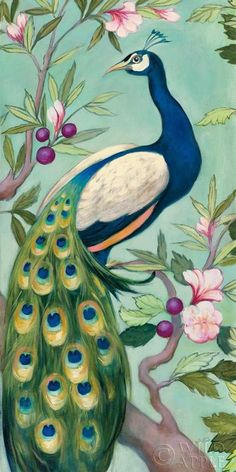 "Julia Purinton ""Pretty Peacock II"" Archival Lithograph on Paper  20"" x 40"" NEW #Impressionism"