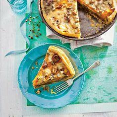 Pumpkin, Figs & Walnut Pie. Veganize by replacing eggs (by tofu?) & dairy.