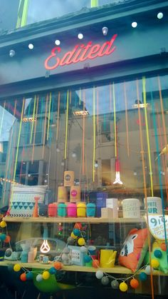Edited Store Brighton sporting our lights in a colourful display :) Cable And Cotton Lights, Brighton, Display, Store, Creative, Fun, Color, Floor Space, Billboard