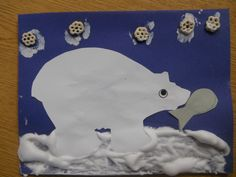 """Polar bear craft...we used """"snow paint"""" and honey combs painted white to look like snowflakes :)"""