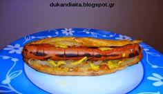 Για το χοτ ντογκ θα χρειαστούμε:     1 δόση ζύμη μπριός   1 λουκάνικο κοτόπουλου, 100 γραμμάρια (ανεκτό)   λίγη μουστάρδα χωρ... Hot Dog Buns, Hot Dogs, Dukan Diet Recipes, Bread, Foods, Food Food, Food Items, Brot, Baking