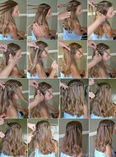 This tutorial well show you how to do a beautiful 4 Strand Waterfall Braid. T - - This tutorial well show you how to do a beautiful 4 Strand Waterfall Braid. Waterfall Braid With Curls, Waterfall Braid Tutorial, Ponytail Tutorial, Braid Tutorials, Beauty Tutorials, Cascade Braid, Beauty Tips, Box Braids Hairstyles, Pretty Hairstyles