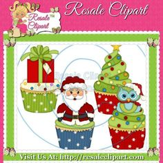 Santa Christmas Cupcakes Clipart Digital Download by MaddieZee, $1.50