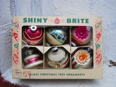 VINTAGE Box 6 Shiny Brite Glass Christmas by VeiledThroughTime
