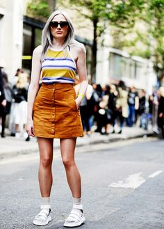 Wear a striped tank with a button-up skirt, and try wearing socks with monochromatic sandals