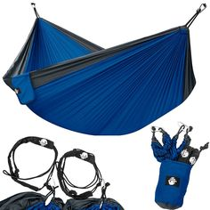 Legit Camping - Double Hammock - Lightweight Parachute Portable Hammocks for Hiking, Travel, Backpacking, Beach, Yard Gear Includes Nylon Straps & Steel Carabiners (Charcoal/Sapphire) Picnic Table Kit, Portable Picnic Table, Plastic Picnic Tables, Portable Hammock, Backpacking Gear, Camping And Hiking, Tent Camping, Camping Gear, Camping Trailers