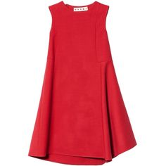 Marni Sleeveless dress (€1.025) ❤ liked on Polyvore featuring dresses, vestidos, short dresses, red, sleeveless dress, shift dress, short-sleeve shift dresses, red cocktail dress and red sleeveless dress