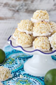 Quick and easy white chocolate coated Coconut Lime Macaroons. Just 7 simple ingredients, these come together in less than 10 minutes. The fresh lime zest is the perfect compliment to this recipe. Coconut Cookies, Coconut Macaroons, Yummy Cookies, Coconut Flour, Cookie Desserts, Cookie Recipes, Dessert Recipes, Macaroon Recipes, Chocolate Coating