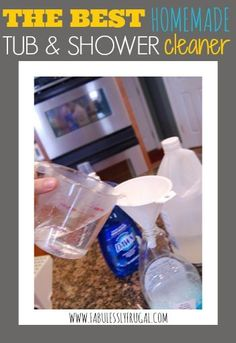 """""""This homemade DIY tub and shower cleaner is amazing! It gets rid of soap scum and rinses clean easily with barely and suds left behind. You gotta try it!   www,FabulesslyFrugal.com"""""""