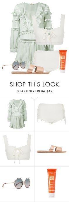 """""""Untitled #471"""" by kkarolinas ❤ liked on Polyvore featuring For Love & Lemons, Marysia Swim, Ancient Greek Sandals, Chloé and Hampton Sun"""