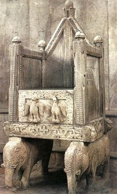 Canosa di Puglia - Bishop's throne inside of the Cathedral San Sabino, c. 1089
