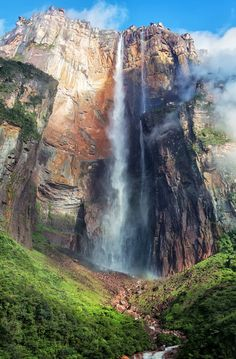 "Angel Falls is a waterfall in Venezuela. It is the world's highest uninterrupted waterfall.  The waterfall drops over the edge of the Auyantepui mountain in the Canaima National Park.  The waterfall mostly consists of the main plunge but also includes sloped cascades and rapids below.  It is also referred to in native languages as ""Waterfall of the deepest place"" and ""The fall from the highest point."""